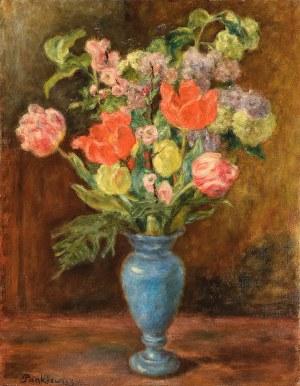 Józef Pankiewicz (1866-1940), Bukiet kwiatów w niebieskim wazonie, ok. 1929
