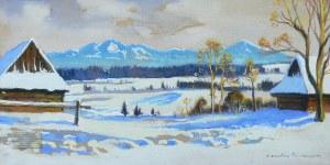 Mieczysław Filipkiewicz (1891 Kraków -1951), Zimowy pejzaż podgórski