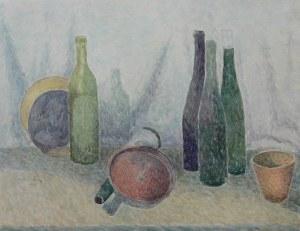 Władysław Brzosko (1912 Czyta/Syberia-2011 Arizona), Martwa natura z butelkami, 1947
