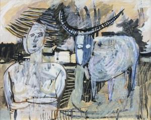 Ryszard Stryjec (1932 Lipniszki k. Lidy-1997 Gdańsk), Portret z kozłem, l. 60.