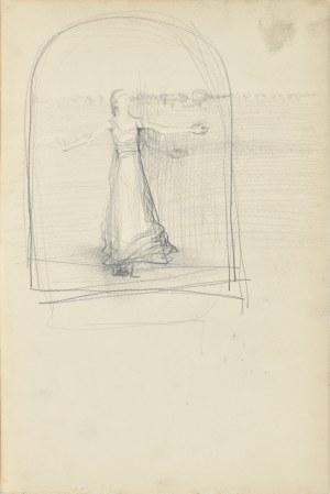 Włodzimierz Tetmajer (1861 - 1923), Szkic obrazu - Młoda kobieta z rozłożonymi rękoma na tle pola, ok. 1900