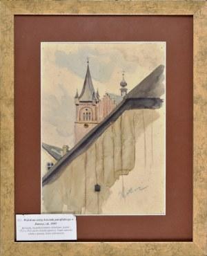 Stanisław Kamocki (1875-1944), Widok na wieżę kościoła parafialnego w Zatorze, ok. 1905