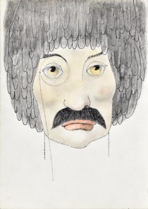Kazimierz Mikulski (1918-1998), Twarz mężczyzny w monoklu - Projekt kostiumu do przedstawienia