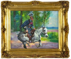 Wojciech Kossak (1856-1942), Ułan na galopującym koniu, 1905