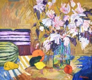 Jan Szancenbach (1928-1998), Różowe kwiaty, 1997