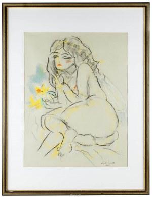 Ludwik Klimek (Ludwik Klimek 1912 Skoczów - 1992 Nicea), Akt z żółtym kwiatem, Adele