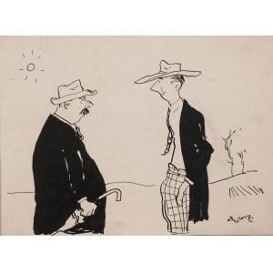 """Stefan Brzozowski (1911-1978), Między spekulantami, ok. 1950 - rysunek do """"Gazety Krakowskiej"""""""