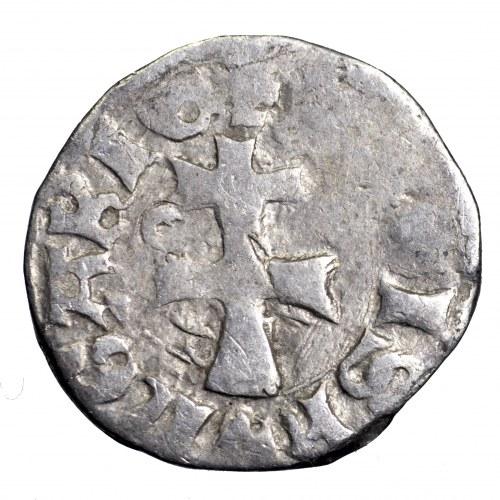 Ludwik Węgierski (Andegaweński) 1370-1382, Denar Saracen - brockage, rzadkość