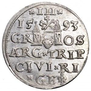Zygmunt III Waza, trojak 1593, Ryga - piękny
