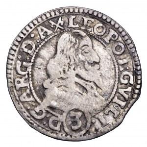 Austria, Leopold, 3 krajcary 1653, Tyrol - rzadkie