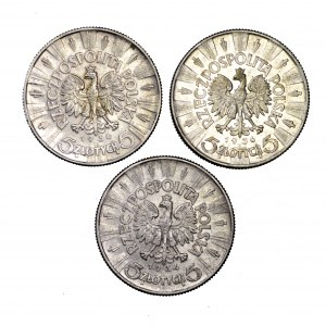 II Rzeczpospolita, zestaw 3 x 5 złotych Piłsudski