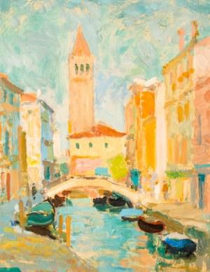 Eugeniusz ARCT (1899 - 1974), Pejzaż włoski (Widok na kanał Rio de San Barnaba?), 1965