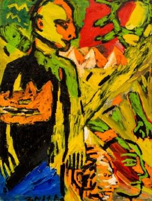 Zdzisław NITKA ur. 1962, Mężczyźni, słońce, głowa wilka, 1987