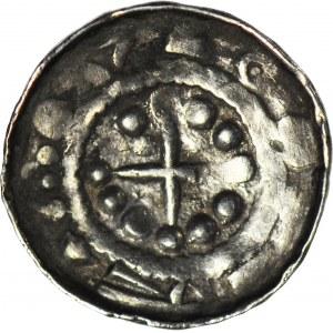 R-, Denar krzyżowy XIw, dwa łuki z kulami