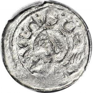 R-, Bolesław II Śmiały 1058-1079, Denar książęcy, książę na koniu, półksiężyc pod koniem