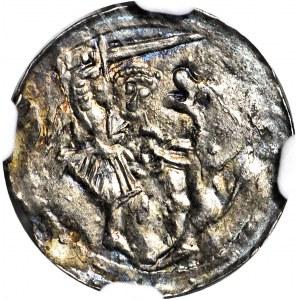 R-, W. II Wygnaniec 1138-1146, Denar Kraków, Książę na OZDOBNYM tronie, VDILZILAS+ zamiast (VLODIZLAVS+)