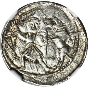 RRR-, W. II Wygnaniec 1138-1146, Denar Kraków, Książę na tronie, VILAVSS+ zamiast (VLODIZLAVS+)