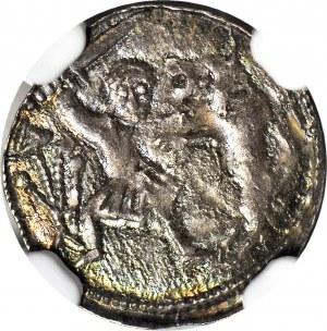 R-, W. II Wygnaniec 1138-1146, Denar Kraków, Książę na tronie, VDILZILAS+ zamiast (VLODIZLAVS+)