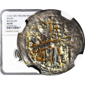 Bolesław I Wysoki 1163-1201, Denar ok. 1177-1201, Postacie/Krzyż wąski, R2