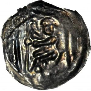RR-, Leszek Biały 1194-1227, Księstwo Krakowskie, Brakteat, Książę na tronie w prawo, MENNICZY