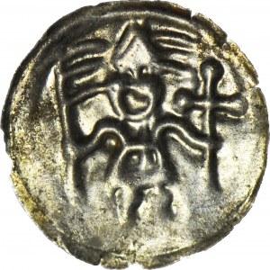 RRR-, Kujawy?, Brakteat, Rycerz z krzyżem i proporcem