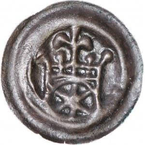 R-, Zakon Krzyżacki, Brakteat ok. 1257-1268, Toruń, Brama, I emisja, piękny i rzadki