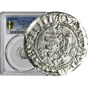 R-, Ludwik Węgierski (Andegaweński) 1370-1382, Denar Tarcza/Św Ładysław, Kopicki R2