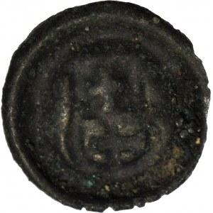 RR-, Kazimierz Jagiellończyk 1446-92, Brakteat, Elbląg, tarcza rozszerzana, rzadki i piękny