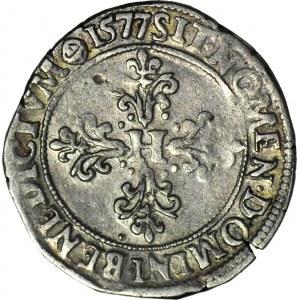 R-, Henryk Walezy, Król Polski, 1/2 franka 1577 B, Rouen