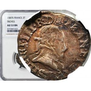 RR-, Walezy, Król Polski, Double tournois 1583, w tym stanie bardzo rzadki miedziak