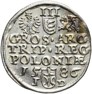 Stefan Batory, Trojak 1586, Olkusz, ligatura, R2
