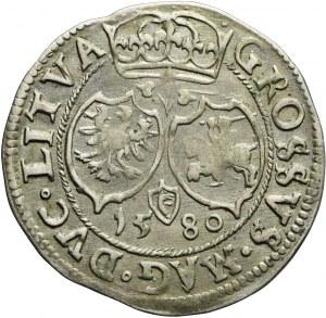 RR-, Stefan Batory, Grosz 1580 Wilno, trójlistek, bardzo ładny