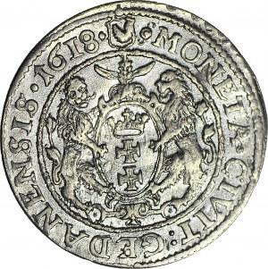 R-, Zygmunt III Waza, Ort 1618, Gdańsk, łapa niedźwiedzia, menniczy