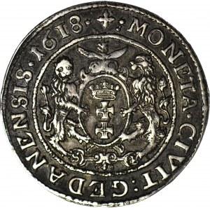 R-, Zygmunt III Waza, Ort 1618, Gdańsk, krzyż, S-B przy łapach lwów, piękny