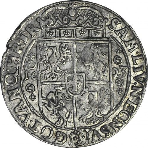 R-, Zygmunt III Waza, Ort 1623, Bydgoszcz, kwiatki jako ozdobniki w koronie