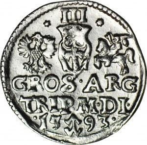 RRR-, Zygmunt III Waza, Trojak 1593 hybryda Dyla/Platina RRRR