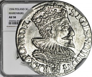 RR-, Zygmunt III Waza, Trojak 1594 Malbork, pierścień rozdziela datę