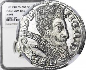 Zygmunt III Waza, Trojak 1597, Poznań, WYŚMIENITY