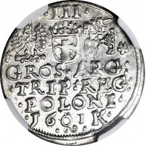 Zygmunt III Waza, Trojak 1601, Kraków, menniczy, IDEALNY