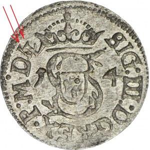 RRR-, Zygmunt III Waza, Szeląg 1614, Wilno, MDLL (zamiast MDL), NIENOTOWANY