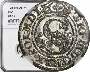 RRR-, Zygmunt III Waza, Szeląg 1620, Ryga, data na awersie