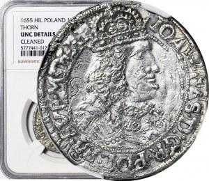 RR-, Jan Kazimierz, Ort 1655 Toruń HI-L, szeroka głowa, rzadki i piękny