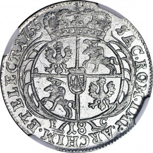 August III Sas, Ort 1755, menniczy