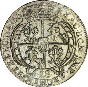 August III Sas, Ort 1755, Lipsk, menniczy