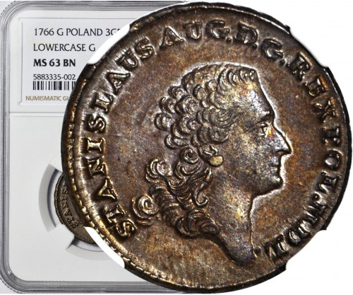 Stanisław A. Poniatowski, Trojak 1766, Kraków, małe g, menniczy