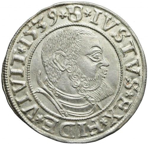 Lenne Prusy Książęce, Albrecht Hohenzollern, Grosz 1539, Królewiec, piękny
