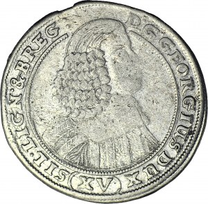 RRR-, Śląsk, Jerzy III Brzeski, 15 krajcarów 1659, Brzeg, najrzadszy rocznik