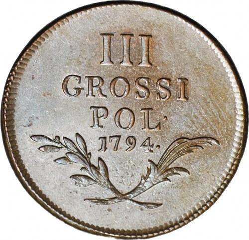 R-, 3 grosze 1794, Galicja i Lodomeria, Insurekcja Kościuszkowska, jak lustrzanka, WYŚMIENITE