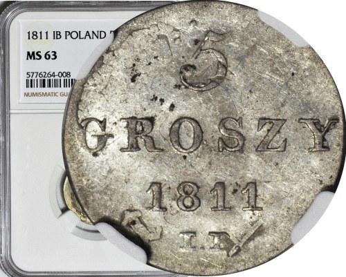 Księstwo Warszawskie, 5 groszy 1811 IS, przebite na 1/24 talara, mennicze