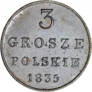 RR-, Królestwo Polskie, 3 grosze 1835 IP, nowe bicie, lustrzane, R5